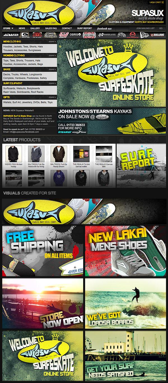 Web Design > Supasux Surf & Skate