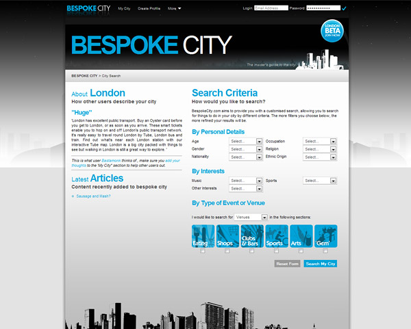 Web Design > Bespoke City